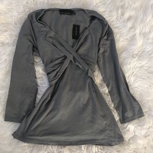 NWT The Limited Gray Wrap Top 3/4 Sleeve Size XS